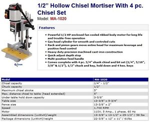 """KING CANADA 1/2"""" Hollow Chisel Mortiser With 4 pc. Chisel Set"""