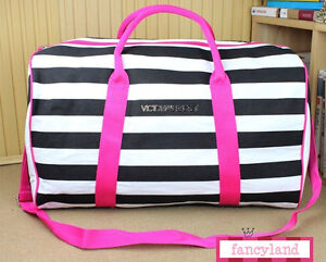 New-Victorias-Secret-VS-Stripe-Getaway-Travel-Duffle-Shopping-Gym-Bag-Tote
