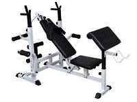 Multi Gym Weight Bench with bar and over 100kg of different weights