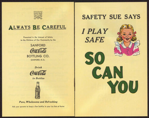 """1951 Coca Cola Giveaway Booklet with Safety Sue - Sanford, NC """"New Old Stock"""""""