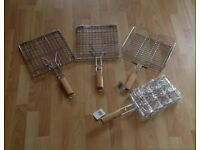 BBQ Baskets, Corn Cob Holder & Rack - All Chrome With Wooden Long Handles
