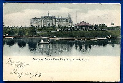 Newark New Jersey Boating Branch Brook Park Lake old postcard
