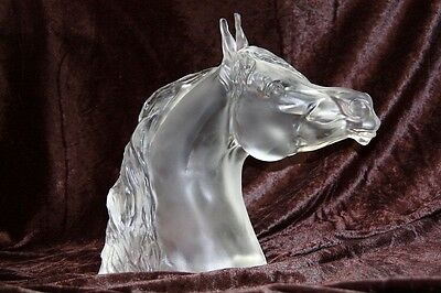 "**RARE** Baccarat France Frosted Glass Crystal Figurine ""Annette"" Arab Horse"