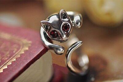 Ringe Silberring 925 Silber Damen Geschenk Katze Schmuck Modeschmuck verstellbar