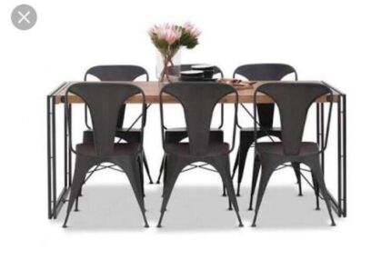 7 piece Industrial style dining table and chairs