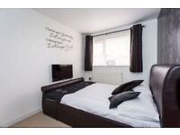Dark Brown Faux Leather Double Bed Frame.