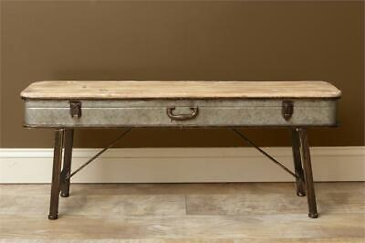 New Primitive Farmhouse Rustic VINTAGE SUITCASE BENCH Wood Coffee Table Shelf Rustic Wood Benches