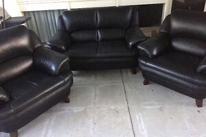 Fabio Mazzero Black Italian Leather Sofa Set Endeavour Hills Casey Area Preview