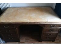 Large School Leather Desk