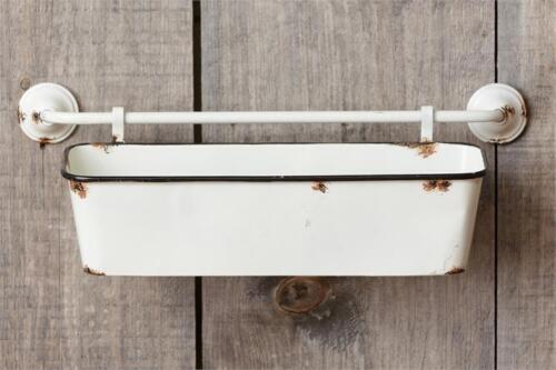 New Farmhouse Chic Shabby Primitive WHITE FEEDER TROUGH Wall Basket Shelf Bin
