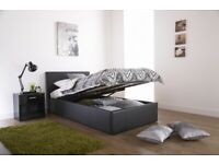 4ft SMALL DOUBLE ottoman bed frame Black