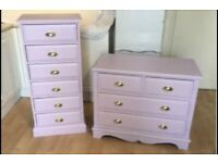Pine furniture Bedroom Set ~ Tall boy 6 Drawers & Chest 2 over 2 Drawers ~ lilac