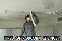 Ceiling repair, popcorn/stucco removal texture, knockdown