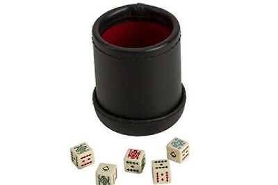 Deluxe Las Vegas Style Poker 5 Dice Cup Leather Like Outside  Red Felt Lined