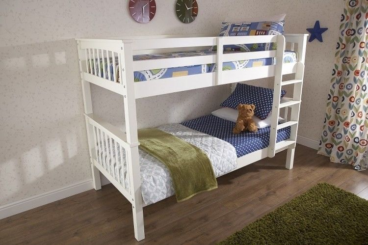 Brand New Novaro Solid Pine Wood Bunk Bed Frame In White Finish