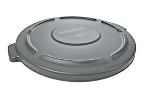 rubbermaid commercial brute trash can flat lid round gray 44 gallon gray