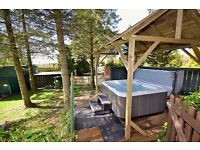Holiday log cabin Romantic lodge with private hot tub Yorkshire moors
