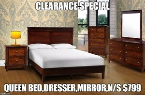 QUEEN BED,DRESSER, MIRROR AND NIGHT STAND ONLY AT $799