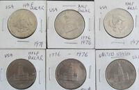 Monnaie USA : 6 Pièces de 50 cents américain