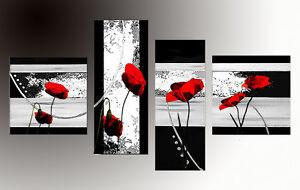 Quadri moderni astratti dipinti a mano olio su tela for Quadri con papaveri rossi