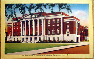 1951 Tuscaloosa, AL Linen Postcard: University Alabama Auditorium Linens Alabama University