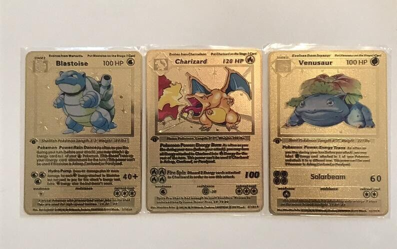 Charizard Blastoise Venusaur Trio Pokemon Card Base Set 1st Edition Gold #2//4//15