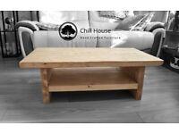Waney / Live Edge Coffee Table With BOTTOM shelf Rustic Tudor Oak Solid Wood