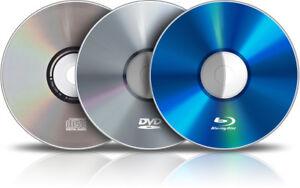 CD 2 $ ch / DVD 3 $ ch / BLU-RAY 4 $ ch:  pour adultes, enfants