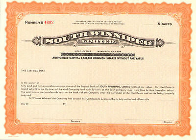 South Winnipeg Limited > Manitoba Canada stock certificate