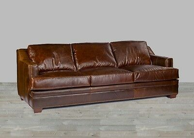 Antique Brown Leather Sofa 100% Top Grain Nailhead Trim Down Blend Restoration ()