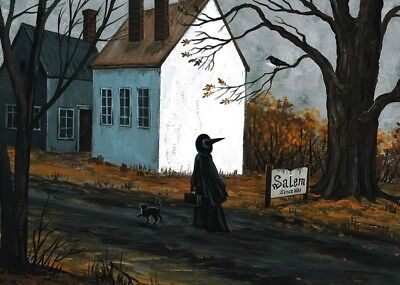 5x7 PRINT OF PAINTING RYTA HALLOWEEN SALEM WITCH SIGN HAUNTED HOUSE BLACK - Halloween Painting