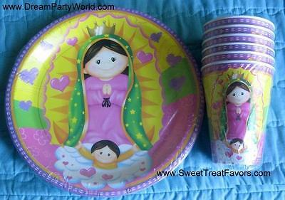 Virgencita Guadalupe Party Baptism Favor Birthday Plates Cup X6 Lupita Fiesta Nw