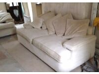 2 x Cream Luxury Sofas from a smoke and pet free home.