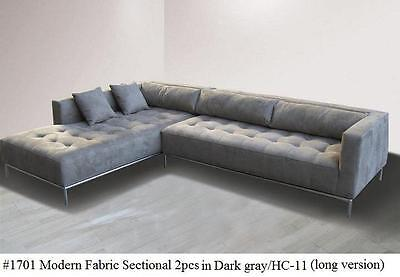 2PC Fabric Modern tufted Sectional Sofa #1701 Dark gray (Large version)