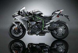 US STOCK 1:18 Kawasaki H2R Motorcycle Diecast Model Maisto Model W Base