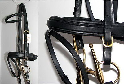 (FSS German Posh SQUARE RAISED Padded BRASS Comfort Crank Bridle Dressage Reins)