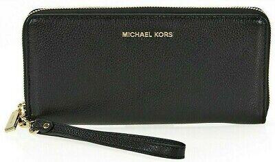 Michael Kors Mercer Continental Pebbled Leather Women's Wristlet Purse - Black