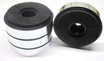 4x stabile Hifi-Gerätefüße schwarz/chrom 40mm Boxenfüße Moosgummidämpfer