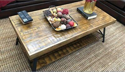 Distressed Wood Coffee Table (Rustic Coffee Table Wood Reclaim Look Farmhouse Industrial Distressed Weathered)