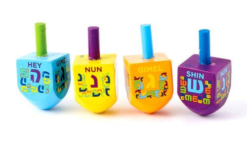 4 SMALL PAINTED WOOD DREIDELS - Jewish Holiday Gift - Hanukkah Chanukah Dreidel