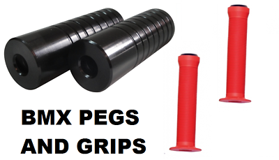 Pair Of Black Metal Premier Bmx Stunt Grinding Pegs - Will Fit 10mm & 14mm Axles