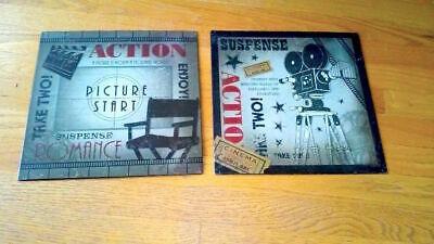 2- Vintage Retro Film Movie Cinema Theater Snack Bar Metal Signs Gameroom  2 Retro Signs