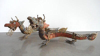 Rare Pair Antique Tibetan or Chinese Coral Turquoise Inlaid Dragons
