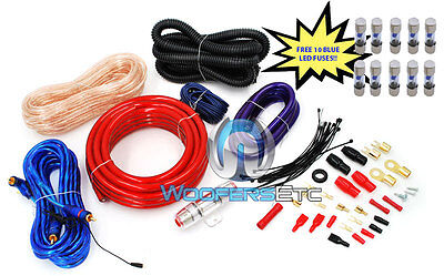 Pkg 10 Fuses & Pd-4kit Amp Cables 4 Awg Wire 2500w Car Amplifier Rca Install Kit on sale