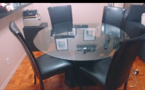 DINING TABLE 4 LEATHER CHAIRS +LIVING ROOM TABLE+TABLE+BIG POOF