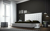 NEW!  Modern White Leather Platform Bed with Tufted Headboard