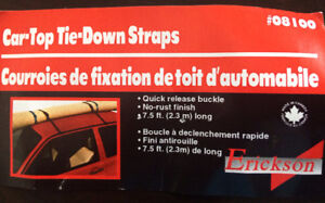 """Erickson"" Bike Tie-Down Straps & Car-Top Tie Down Straps  NEW"