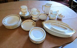 Vintage Luncheon Tea Set for Six - White Porcelain & Gold Trim