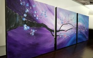 Oil Painting Cherry Blossom, 3 panels 12x12'