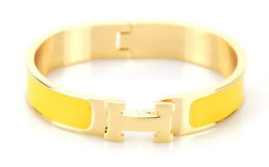 Women Metal Alloy H Bangle Cuff Fashion Wristband Gold Bracelet Metallic Enamel